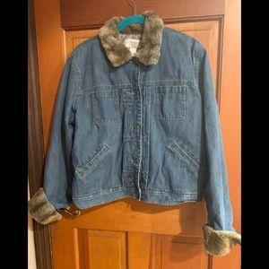 Denim Liz Claiborne lined fur jacket XL XXL 16 16w